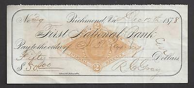 1878 Richmond Virginia Bank Check RN-G1