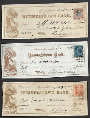 "3 Hummelstown Pennsylvania Bank Checks 1870-1880 ""Maid"""