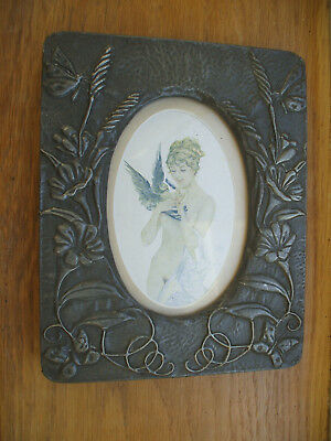 Original Art Nouveau Pewter Photo Frame With Signed Hand-Painting Of Nude Lady