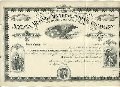 Unused Juniata Mining & Manufacturing Co Tyrone Blair Cty Pa Stock Certificate