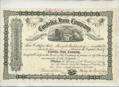 1880 Cordelia Iron Company Lancaster County Pa Issue #28 Stock Certificate