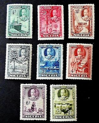 Nigeria 1936 KGV  Definitive set to 1/- Eight  Values -  Lightly Mounted Mint