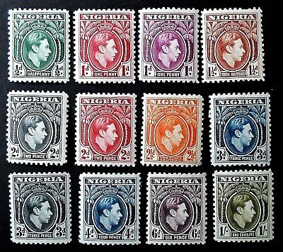 Nigeria 1938 KGV  Definitive set to 1/- Twelve  Values -  UNMounted Mint