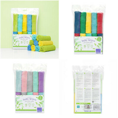 Wipes Bambino Mio Pack of 10 Cotton Washable Wipes Natural Chemical Free 22cm
