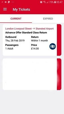 Stansted Express  Ticket 28 Feb 2019 Liverpool Street - Airport 1 Month Return