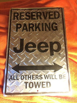 "Blechschild ""reserved parking JEEP - all others will be towed"" cherokee wrangler"