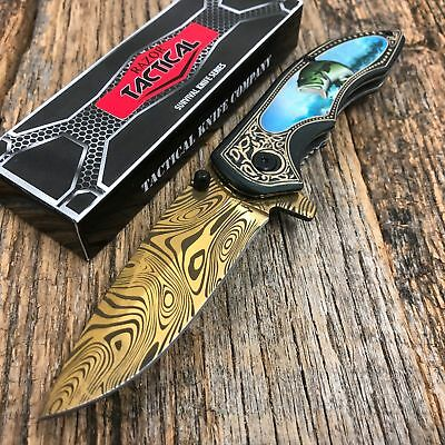 """8"""" Knife Spring Assisted Pocket Open Folding Tactical Alum Handle GOLD BASS FISH"""