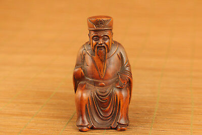 chinese old boxwood hand carved buddha statue figure collectable netsuke