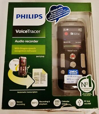 Philips Voice Tracer DVT2710 Digital Voice Recorder With Speech Recognition