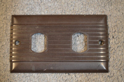 Vintage Uniline Despard 2 Switch Wall Plate Cover Art Deco Ribbed Brown Bakelite