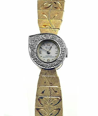 Vintage 40's Most Unusal Design by ROMOLO Diamonds Yellow Gold Ladies Watch