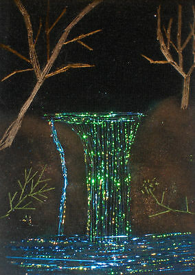 """*YEARLY SALE* ACEO Original  """"The Waterfall"""" Silk Hand Embroidery - A Lobban"""