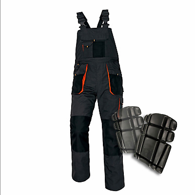 Work New Bib and Brace Overalls Trousers Multipockets Knee Pads Pockets Emerton