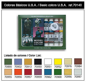 Vallejo Acrylic Paints 70140 Basic USA Model Color Paint Set - 17ml (16 Colors)