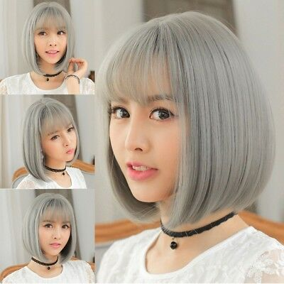 Fashion Bob Wig Grey Ombre Wigs Short Straight Synthetic Hair Full Wig for Women