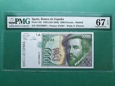 1992 Spain 1000 Pesetas P# 163 Pmg 67 Epq Superb Gem Unc
