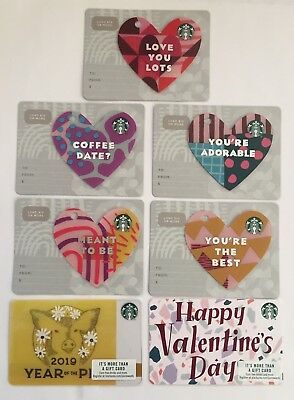 2019 Starbucks Gift Card. VALENTINES DAY, NEW YEAR. Set of 7. Mint. W/W shipping