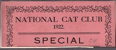 Vintage Litho 1922 London England Advertising Cat Kitten National Club Show Card