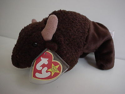 Roam the Buffalo Beanie Baby Plush Toy Gift 1998 Ty Bison Unused, mint Tag