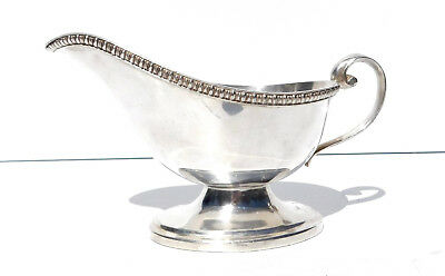 Vintage Silverplate Sauce or Gravy Boat ~Gadroon Rim Oval Base ~ 8 oz Capacity