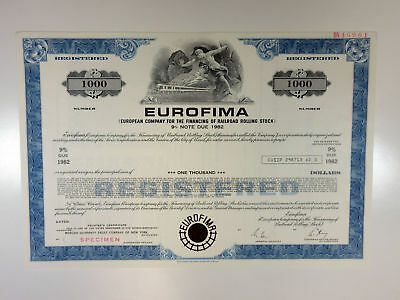 Swiss Confederation. EUROFIMA, 1970s, $1,000 Registered 9% Specimen Bond, XF