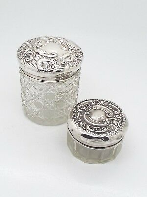 2 x Antique Hallmarked Sterling Silver Topped Cut Glass Dresser Jars 1902 & 1899