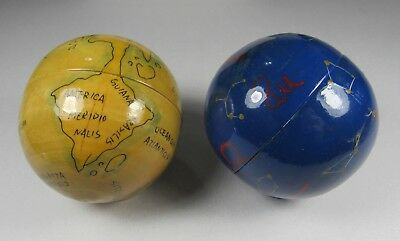 2 vintage Globes, Earth & space. 3 more inside each one - with Small ring Stand