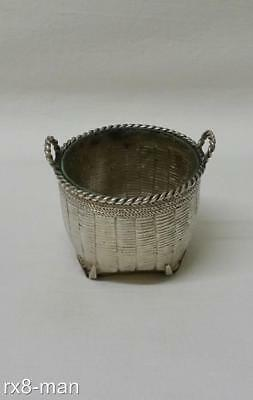 Superb Rare Chinese Export Solid Silver Woven Basket Salt Cellar & Liner