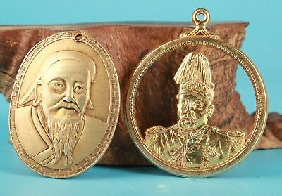 2 Brass China Genghis Khan Yuan Shikai Statue Necklace Pendant Old Collection