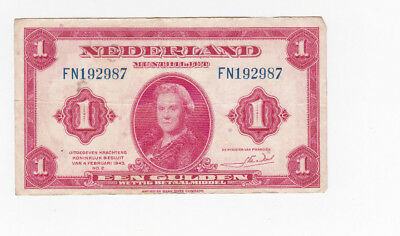 1 Gulden Very Fine Banknote From German Occupied Netherlands 1943!pick-64