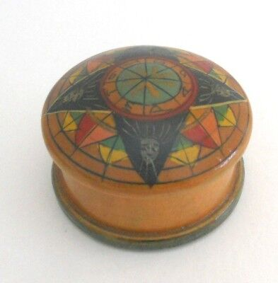Vintage Wooden Treen Lidded Pot With Hand Painted Lid