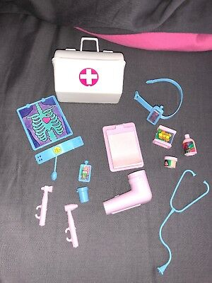 Vintage 1990s Dr. Barbie Doctor Bag and Accessories Stethoscope Cast