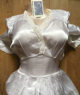 FRENCH 1930s BIAS CUT DRESS NIGHTGOWN~BRIDAL WHITE SILK SATIN~LACE TRIMS~NEW~S/M