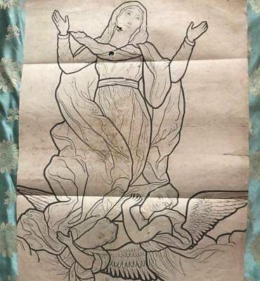 BEAUTIFUL 19th CENTURY FRENCH STAINED GLASS DESIGN DRAWING CARTOON, 18.