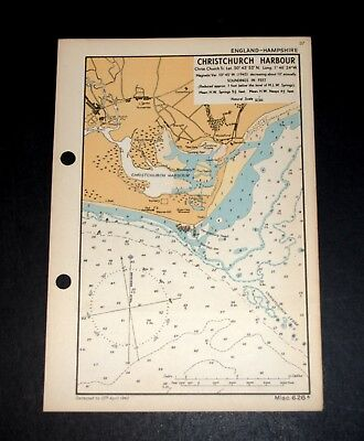 CHRISTCHURCH HARBOUR, Hampshire - WW2 vintage Map 1943