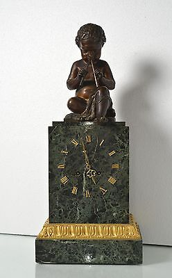 Antique 19th century French Empire Figural Bronze & Marble Clock