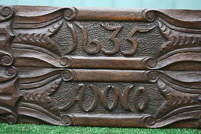 SUPERB PAIR: MID 17thC GOTHIC WOODEN OAK CARVED PANELS WITH ANNO & DATE of c1635