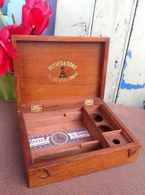 Antique Reeves & Sons Fitted Mahogany Small Artists Paint Box c.1910~20's RARE!