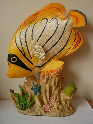 "Tropical Fish On Resin Coral Reef Display Base Approx 11 1/2"" Tall Hand Painted"