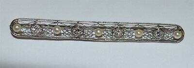 14k White Gold Vintage Diamond & Pearl Brooch Pin ~ Early 1900s ~ .56ct Approx