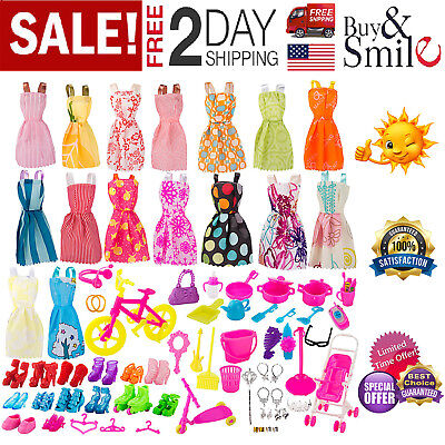 130Pc Doll Clothes Barbie Girl Outfits Huge Lot Gown Dress And Party Accessories