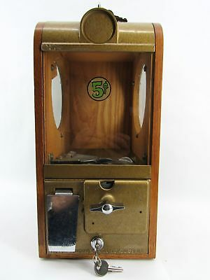 Vintage Victor Vending Corp 5¢ Wooden Gumball/Candy/Peanut Machine