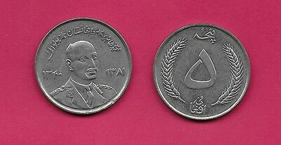 Afghanistan Kingdom 5 Afghanis 1961 Xf-Au Bust 3/4 Right Divides Dates,wheat Spr