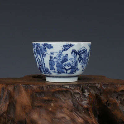 "3"" China old antique Porcelain Qing Kangxi Blue & white Chararters Cup C1"