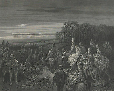 1872 Antique Engraving - Evening Ride on Hampstead Heath, London - Gustave Dore
