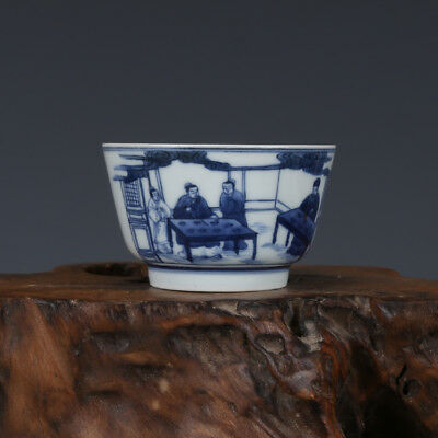 China old antique Porcelain Qing Kangxi Blue & white Chararters Cup C3