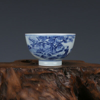 "3"" China old antique Porcelain Qing Kangxi Blue & white Chararters Tree Cup"