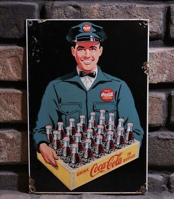 Vintage Drink Coca Cola Porcelain Sign Minute Man Gas Oil Pump Plate Rusted Ad