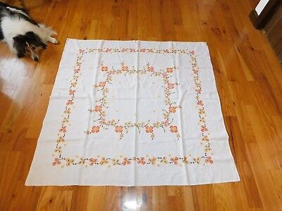 Cross Stitch Tablecloth Floral Yellow Orange Brown Colors Vintage Handmade