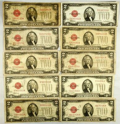 Lot of 10 Mixed 1928 $2 US Notes - Average Circulated or Better